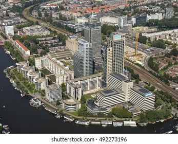 7 September 2016, Amsterdam. Aerial view of the financial district with the Rembrandt, Mondriaan and Breitner Towers at the river Amstel. Here are the headquarters of Philips and Delta Lloyd.