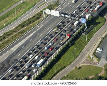 7 September 2016, Muiderberg, Holland. Traffic jam on Highway A1 towards Amsterdam because the bridge is open.