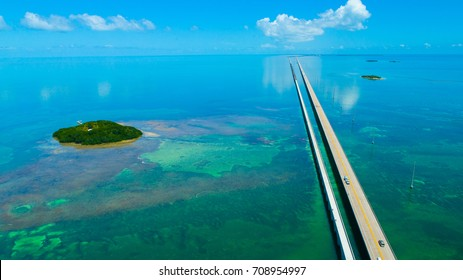 7 Seven Miles bridge. Endless road, Aerial view, Florida Keys. USA.