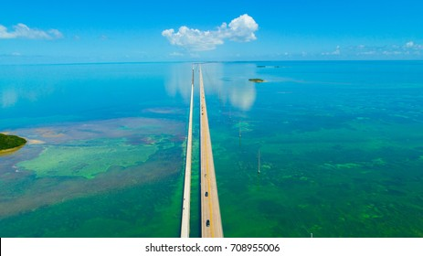 7 Seven Miles bridge. Endless road, Aerial view, Florida Keys. USA.