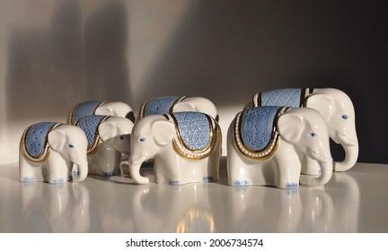 7 seven soviet 50s retro gold blue porcelain elephants