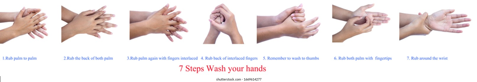 7 Steps Wash your hands to be safe from the virus. isolated on white background