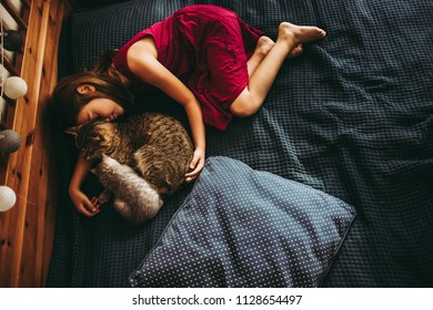7 years little  girl paying with the kittens on bed