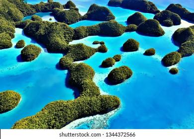 70 Islands Seen from Cessna (Palau, Micronesia)