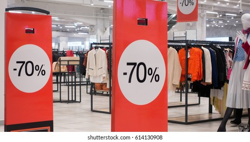 70 off sale banner at the clothing store