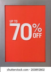 Up to 70% Off Sales Sign
