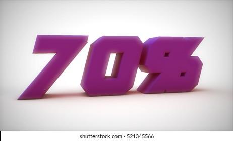 70% purple text sale 3d render