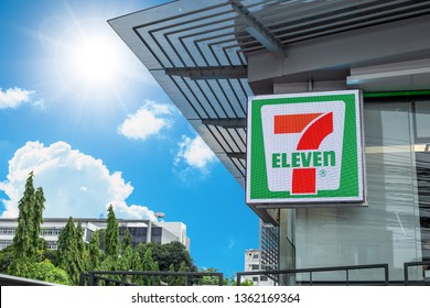 7-11 or seven eleven 24 hours convenience store franchise logo at front entrance,6 April 2019, Bangkok, Thailand.