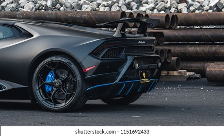 7/14/18 - Hoboken,NJ - The all new 2018 Lamborghini Huracan Performante in Nero Nemesis with blue accents. Close rear view.