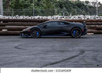 7/14/18 - Hoboken,NJ - The all new 2018 Lamborghini Huracan Performante in Nero Nemesis with blue accents. Side view.