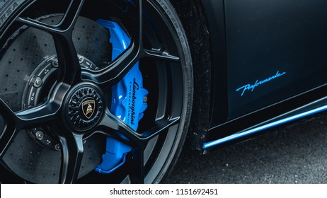 7/14/18 - Hoboken,NJ - The all new 2018 Lamborghini Huracan Performante in Nero Nemesis with blue accents. wide front wheel.
