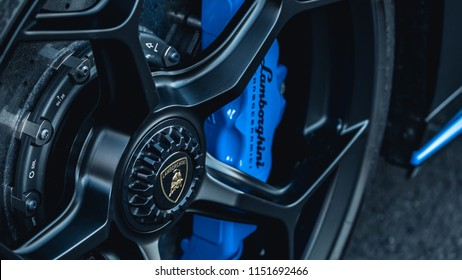 7/14/18 - Hoboken,NJ - The all new 2018 Lamborghini Huracan Performante in Nero Nemesis with blue accents. Front wheel.