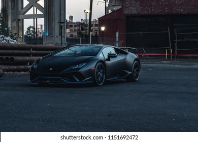 7/14/18 - Hoboken,NJ - The all new 2018 Lamborghini Huracan Performante in Nero Nemesis with blue accents. Front quarter.