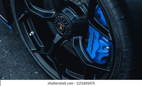 7/14/18 - Hoboken,NJ - The all new 2018 Lamborghini Huracan Performante in Nero Nemesis with blue accents. Rear wheel.