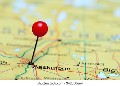 7156 Saskatoon pinned on a map of Canada