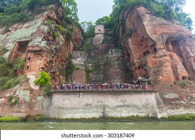The 71m tall Giant Buddha (Dafo), carved out of the mountain in the 8th century CE, Leshan, Sichuan province