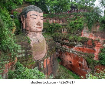 The 71m tall Giant Buddha (Dafo), carved out of the mountain in the 8th century CE in Leshan, Sichuan province, China