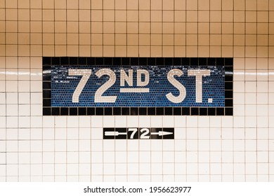 72nd Street Subway sign in the Upper West Side, Manhattan, New York City