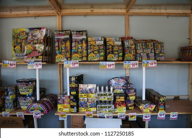 7-3-2018 Santa Ana, California: Fireworks for sale. 4th of July Fireworks stand with fireworks for sale for the Independence Day Holiday of July 4, 2018.