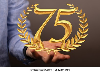 75 Digital number Years Anniversary 3d background