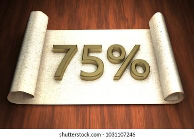 75 per cent, golden numbers, over open paper, 3d rendering