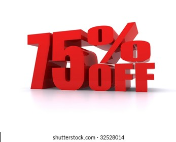75% Percent off promotional sign