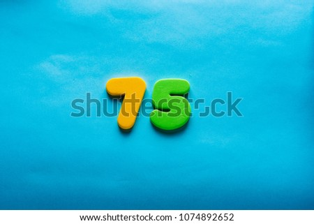 75 Years Old Celebrating Classic Logo Colored Happy Numbers Greetings Celebrates Card Traditional Digits Of Ages Sale Birthday Special Prize