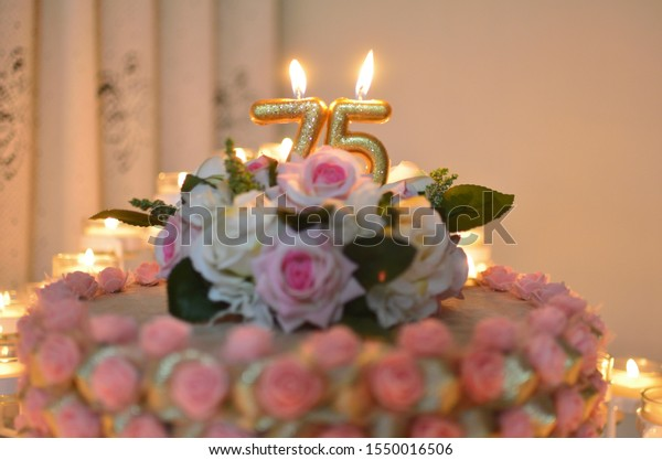 Brilliant 75Th Birthday Cake Candles Roses Stock Photo Edit Now 1550016506 Funny Birthday Cards Online Bapapcheapnameinfo
