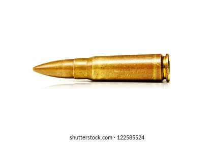 7.62x39mm Old Assault Rifle Bullets Isolated on White Background