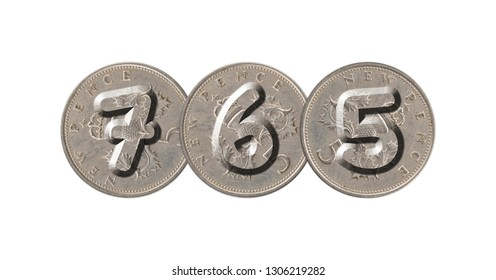 765 – Coins on white background