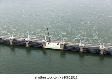 7-7-2016, Schouwen Duiveland, Holland. Aerial picture of construction work of the renovation at the Oosterscheldekering, a storm surge barrier, part of the delta works DELTAWERKEN to protect Holland.