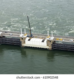 7-7-2016, Schouwen Duiveland, Holland. Close up Aerial picture of construction work at the Oosterscheldekering, a storm surge barrier, part of the delta works DELTAWERKEN in the province of Zeeland.