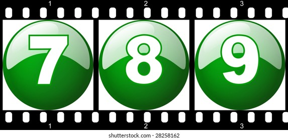 7,8,9 green number set - film strip