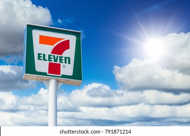 7-Eleven store sign high banner 7-11 is the world's largest franchiser of convenience stores and in Japan use Seven & I Holdings in some branch-Osaka Japan January 2018.