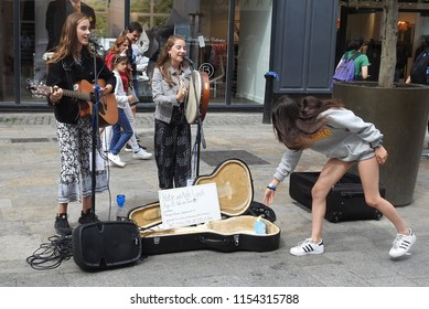7th August 2018 Dublin. Dublin is becoming more and more popular as a tourist destination. The image is one of the many buskers found performing on Grafton Street.