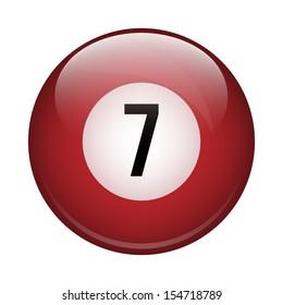 7th billiard ball on a white background
