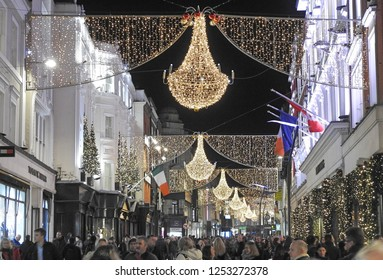 7th December 2018 Dublin. Grafton Street at nighttime during the Christmas period with Christmas lights shining above the street.