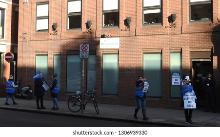 7th February 2019, Dublin. Nurses taking part in the Irish Nurses and Midwives Organisation nationwide strike for better pay and conditions outside the National Drug Treatment Centre on Pearse Street.