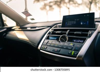 7th Febuary 2019 Chanthaburi Thailand : close up image of console luxury car, interior design of Lexus NX 300h SUV car