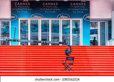 7th May 2018 - Cannes, France - View of the Palais des Festivals showing red carpet at the 71th Annual International Film Festival de Cannes