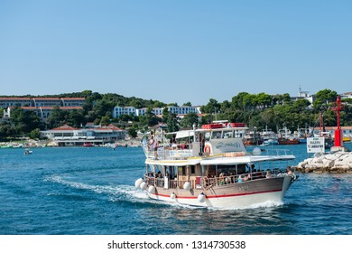 8. 28. 2012. Vrsar Croatia. A wonderful boat for excursions carries people on a tour from the port of Vrsar