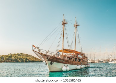 8. 28. 2018. Vrsar Croatia. A beautiful sailing ship for excursions comes to the port of the city of Vrsar