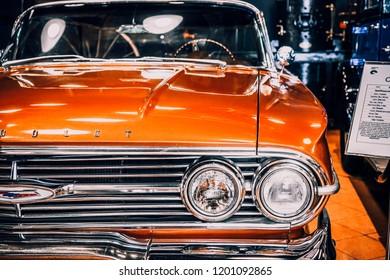 8 April 2018, Istanbul-Turkey: 1960 Chevrolet Impala Sedan classic car in Rahmi Koc Museum. Koc museum has one of the biggest classic car collection in Turkey.