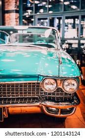 8 April 2018, Istanbul-Turkey: 1960 Cadillac Series 62 Hardtop Sedan classic car in Rahmi Koc  Museum. Koc museum has one of the biggest classic car collection in Turkey.