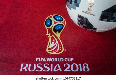 8 April 2018 Moscow, Russia Official ball of the 2018 FIFA World Cup Adidas Telstar 18 and a calendar with the symbols of the World Cup 2018
