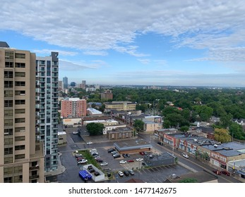 8 AUG 2019 - LONDON ONTARIO : Beautiful cityscape view of London Downtown after the rain from a high rise building.