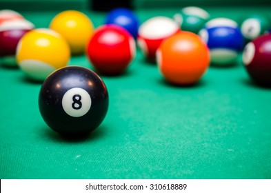 8 Ball from pool or billiards on a billiard table