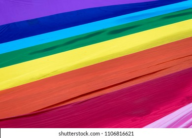 The 8 color gay pride flag used at Sao Paulo Gay Pride, also called as Sao Paulo LGBT Pride. This flag is a reproduction of the original 1978 design and also a tribute to its creator GIlbert Baker.