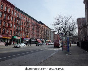8 Dec 2019, Mott Haven, The Bronx, NYC - East 138th Street, the main commercial street in the up and coming neighborhood of Mott Haven, The Bronx