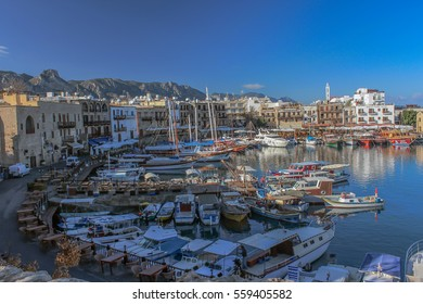 8 December 2013, Cyprus, view from girne harbor (Teknler and its reflections on the historical harbor)
